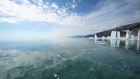 Panorama des Eises mit Reflexion der Sonne stock video