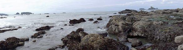Panorama des formations de piscines et de roche de mar?e ? mar?e basse images stock