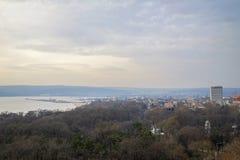 Panorama des frühen Morgens bulgarischer Varna-Stadt 4 stockfoto