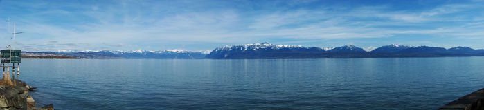Panorama des Geneva Sees Lizenzfreies Stockfoto