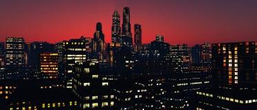 Panorama des gratte-ciel des gratte-ciel Photographie stock
