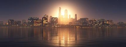 Panorama des gratte-ciel des gratte-ciel photo stock