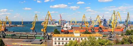 Panorama des grues de port Photo stock
