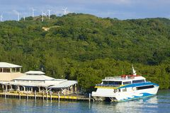 Panorama des Hafens in Roatan, Honduras Stockbild