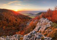 Panorama des Herbstwaldes und -felsens in Slowakei-Berg stockbild