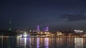 Panorama des Küstenboulevards in Baku Azerbaijan stock footage