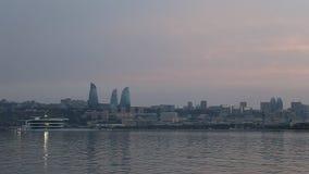 Panorama des Küstenboulevards in Baku Azerbaijan stock video
