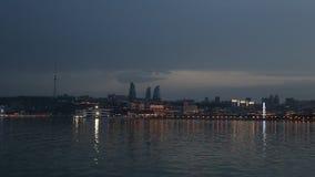 Panorama des Küstenboulevards in Baku Azerbaijan stock video footage
