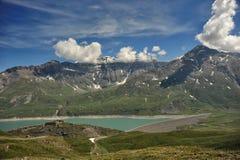 Panorama des Mont Cenis Sees Stockfotografie