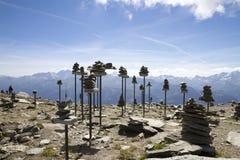 Panorama des montagnes alpines, pyramides, Suisse images stock