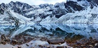 Panorama des montagnes Czarny Staw de Tatra Image libre de droits