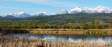 Panorama des montagnes et du fleuve Photographie stock