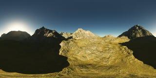 Panorama des montagnes fait avec l'un appareil-photo de lense de 360 degrés Images libres de droits