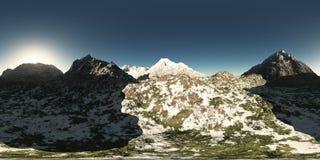 Panorama des montagnes fait avec l'un appareil-photo de lense de 360 degrés Photographie stock