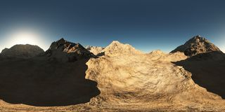 Panorama des montagnes fait avec l'un appareil-photo de lense de 360 degrés Photo libre de droits