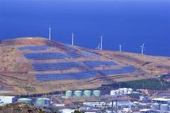 Panorama des moulins de vent dans Canical la Madère Portugal Images libres de droits