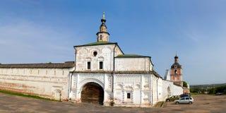 Panorama des murs et des tours du monastère de Goritsky Pereslavl-Zalessky Russie Photos libres de droits