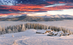 Panorama des nebeligen Wintersonnenaufgangs in den Bergen Lizenzfreies Stockfoto