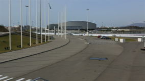 Panorama des Olympiaparks in Sochi stock video footage