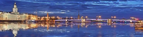 Panorama des Peter und des Paul Fortresss und der Palast-Brücke in St. Lizenzfreie Stockfotografie