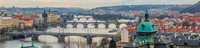 Panorama des ponts de Prague Photos libres de droits