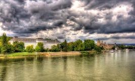 Panorama des Rheins in Koblenz Stockfoto