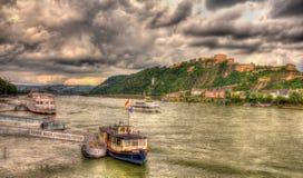 Panorama des Rheins in Koblenz Stockfotos