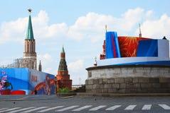 Panorama des Roten Platzes am Frühling und am Werktag Stockbilder