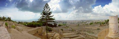 Panorama des ruines antiques de ville à vieille Carthage Tunisie Photo stock