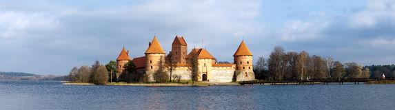Panorama des Schlosses Trakai Stockbild