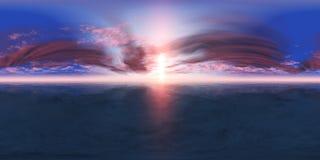 Panorama des Seesonnenuntergangs, die Ansicht des Ozeansonnenaufgangs, tropischer Sonnenuntergang Stockbilder