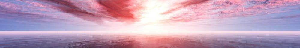 Panorama des Seesonnenuntergangs, die Ansicht des Ozeansonnenaufgangs, tropischer Sonnenuntergang Stockfotos