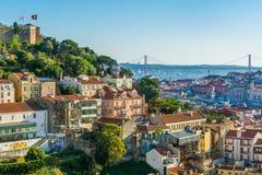 Panorama des späten Nachmittages in Lissabon, vom miradouro DA-graca portugal Lizenzfreie Stockfotos
