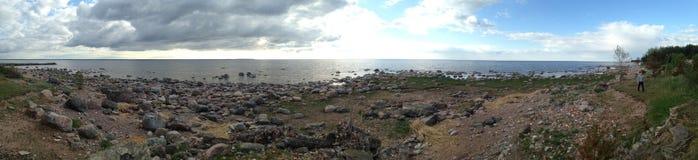 Panorama des Strandes an Nationalpark Lahemaa, Estland Stockfoto