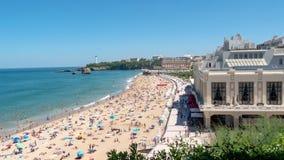 Panorama des Strandes von Biarritz-Stadt, Frankreich lizenzfreies stockbild