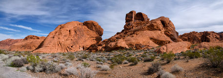 Panorama des Tales des Feuer-Nationalparks, Nevada Lizenzfreie Stockfotos