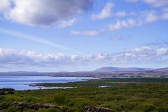Panorama des Tales und des Flusses im Nationalpark Thingvellir in Island Lizenzfreies Stockbild