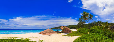 Panorama des tropischen Strandes Lizenzfreie Stockbilder
