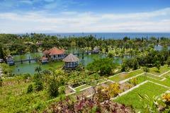 Panorama des Wasserpalastes Tirtagangga Taman Ujung auf Bali Lizenzfreies Stockfoto
