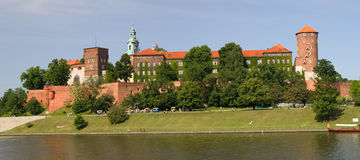 Panorama des Wawel Schlosses in Krakau Stockfotos
