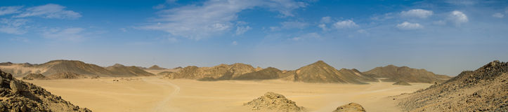 Panorama of desert. And hills with blue sky stock photo