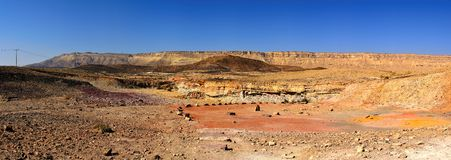 Panorama desert of the crater Ramon Royalty Free Stock Photography