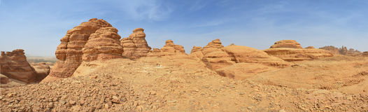 Panorama of desert landscape, red rock mountains Royalty Free Stock Photography