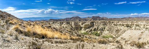Panorama desert of Tabernas. View of the Tabernas desert in Andalusia in southern Spain stock photo