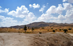 Panorama of the desert village of Matmata Stock Photo