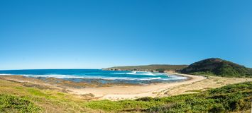 Panorama of a deserted beachin Australia. Panorama of a deserted beach, Catherine Hill Bay on the New South Wales Central Coast, Australia stock images