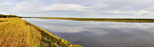 Panorama deserted the Ural river. Royalty Free Stock Photos