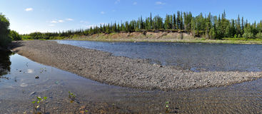 Panorama deserted the Ural river. Royalty Free Stock Image