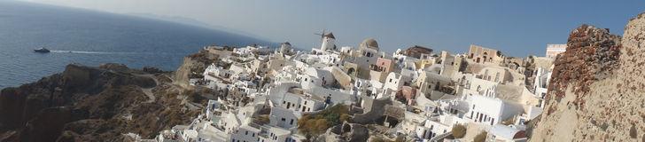 Panorama dessa vista icónica de Oia, Santorini Foto de Stock Royalty Free