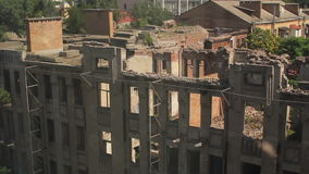 Panorama of the destroyed house. In the city. view from the window of the neighboring house stock video